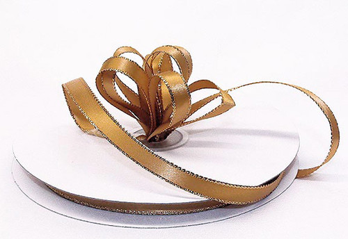 "1/4""x50 yard Old Gold Satin Gift Ribbon with Gold/Silver Edge - Pack of 20 Rolls"