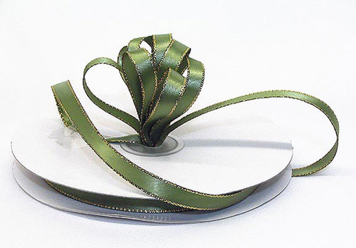 "1/4""x50 yard Olive Satin Gift Ribbon with Gold/Silver Edge - Pack of 20 Rolls"