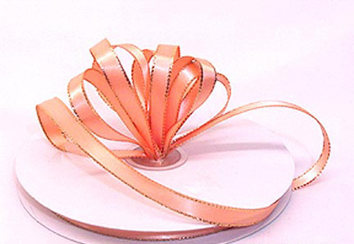 "1/4""x50 yard Peach Satin Gift Ribbon with Gold/Silver Edge - Pack of 20 Rolls"