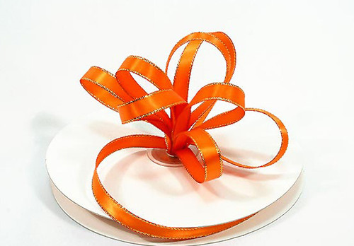 "1/4""x50 yard Orange Satin Gift Ribbon with Gold/Silver Edge - Pack of 20 Rolls"