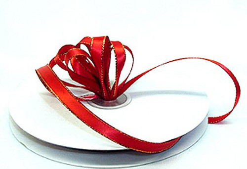 """1/4""""x50 yard Red Satin Gift Ribbon with Gold/Silver Edge - Pack of 20 Rolls"""