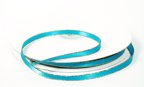 """1/4""""x50 yard Turquoise Satin Gift Ribbon with Gold/Silver Edge - Pack of 20 Rolls"""
