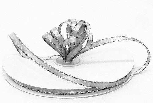 """1/4""""x50 yard Silver Satin Gift Ribbon with Gold/Silver Edge - Pack of 20 Rolls"""