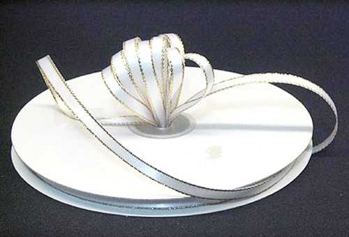 """1/4""""x50 yard White Satin Gift Ribbon with Gold/Silver Edge - Pack of 20 Rolls"""
