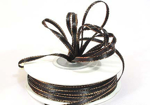 """1/8""""x50 yard Black Satin Gift Ribbon with Gold Edge - Pack of 10 Rolls"""