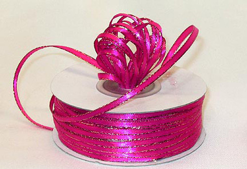 "1/8""x50 yard Fuchsia Satin Gift Ribbon with Gold Edge - Pack of 10 Rolls"