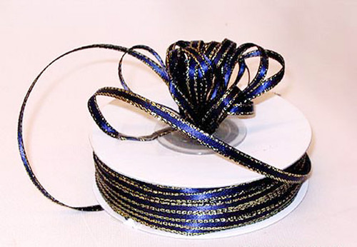 """1/8""""x50 yard Navy Blue Satin Gift Ribbon with Gold Edge - Pack of 10 Rolls"""