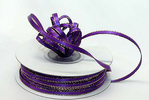"""1/8""""x50 yard Purple Satin Gift Ribbon with Gold Edge - Pack of 10 Rolls"""