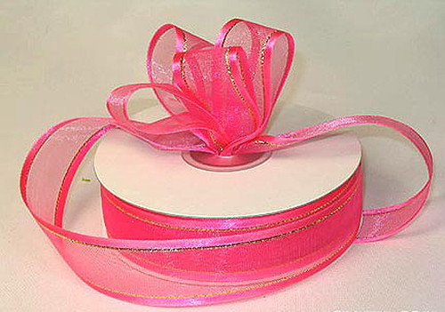 """7/8""""x25 yards Hot Pink Organza Satin Edge with Gold/Silver Trim Gift Ribbon Pack of 7 PCS"""