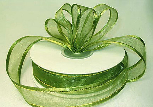 """1.5""""x25 yards Olive Organza Satin Edge with Gold/Silver Trim Gift Ribbon - Pack of 5 Rolls"""