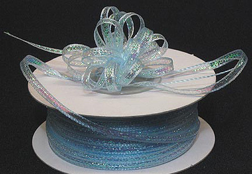 """1/4""""x50 yards Light Blue Organza Pull Bows Ribbon with Iridescent Edge - Pack of 6 Rolls"""