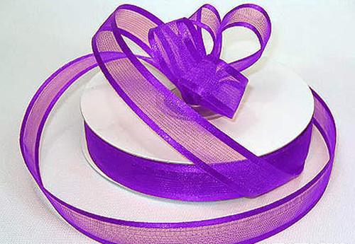 "3/8""x25 yards Purple Organza Satin Edge Gift Ribbon - Pack of 15 Rolls"