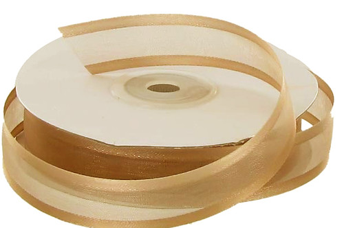 "3/8""x25 yards Tan Organza Satin Edge Gift Ribbon - Pack of 15 Rolls"