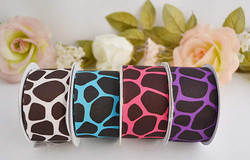 "1.5""x 10 yards Giraffe Animal Print Grosgrain Gift Ribbon - Pack of 5 Rolls"