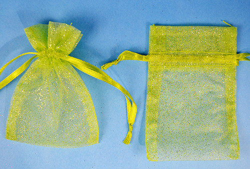 "3""x4"" Apple Green Sheer Organza Bags with Glitter - Pack of 72"
