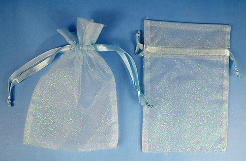 "3""x4"" Blue Sheer Organza Bags with Glitter - Pack of 72"