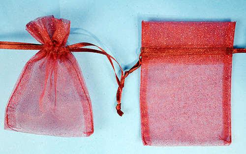 "3""x4"" Burgundy Sheer Organza Bags with Glitter - Pack of 72"