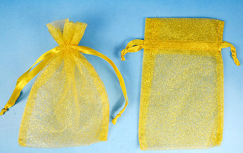 "3""x4"" Gold Sheer Organza Bags with Glitter - Pack of 72"