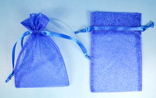 "3""x4"" Royal Blue Sheer Organza Bags with Glitter - Pack of 72"
