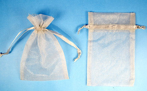 "3""x4"" Silver Sheer Organza Bags with Glitter - Pack of 72"