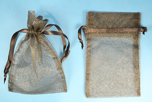 """4""""x6"""" Black Sheer Organza Bags with Glitter - Pack of 72"""