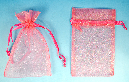 """4""""x6"""" Coral Sheer Organza Bags with Glitter - Pack of 72"""