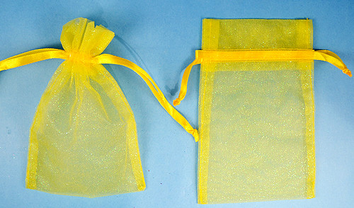 """4""""x6"""" Dark Yellow Sheer Organza Bags with Glitter - Pack of 72"""