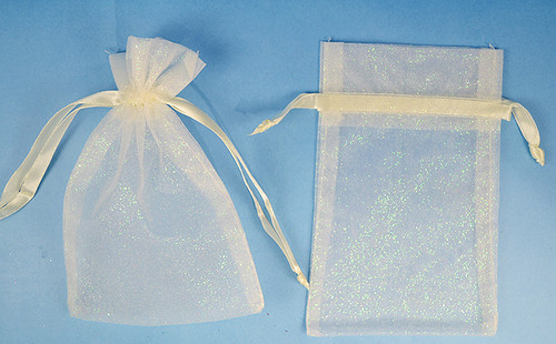 """4""""x6"""" Ivory Sheer Organza Bags with Glitter - Pack of 72"""