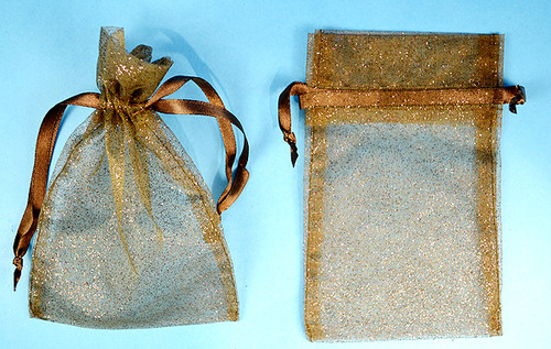 """4""""x6"""" Brown Sheer Organza Bags with Glitter - Pack of 72"""