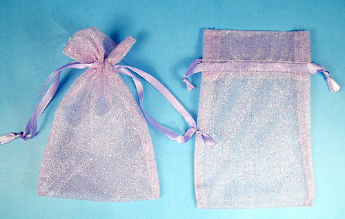 """4""""x6"""" Lavender Sheer Organza Bags with Glitter - Pack of 72"""
