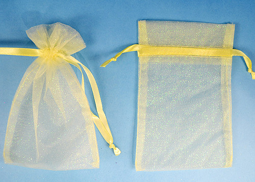 """4""""x6"""" Light Yellow Sheer Organza Bags with Glitter - Pack of 72"""