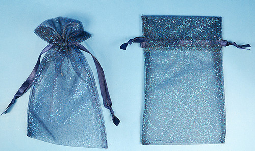 """4""""x6"""" Navy Blue Sheer Organza Bags with Glitter - Pack of 72"""