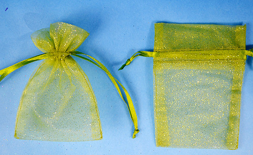 """4""""x6"""" Olive Sheer Organza Bags with Glitter - Pack of 72"""