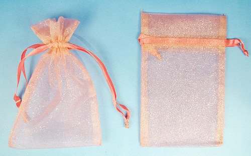 """4""""x6"""" Pink Sheer Organza Bags with Glitter - Pack of 72"""