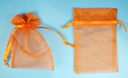 """4""""x6"""" Orange Sheer Organza Bags with Glitter - Pack of 72"""