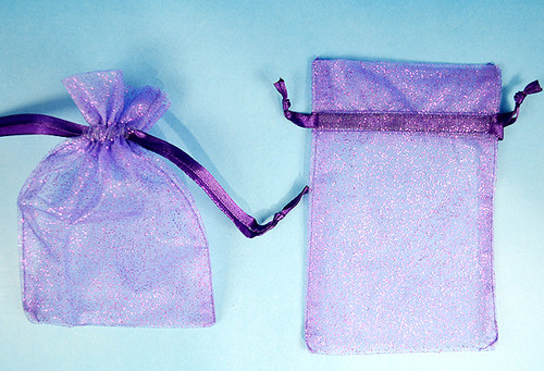 """4""""x6"""" Purple Sheer Organza Bags with Glitter - Pack of 72"""
