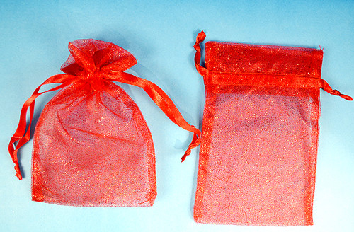 """4""""x6"""" Red Sheer Organza Bags with Glitter - Pack of 72"""