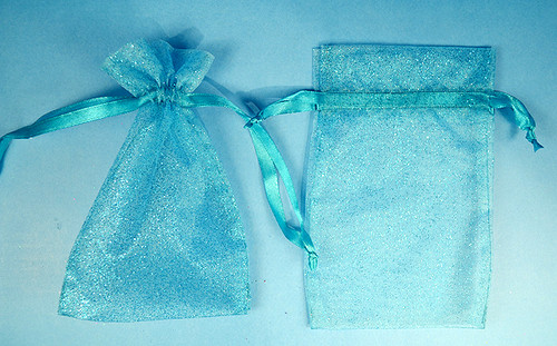 """4""""x6"""" Turquoise Sheer Organza Bags with Glitter - Pack of 72"""
