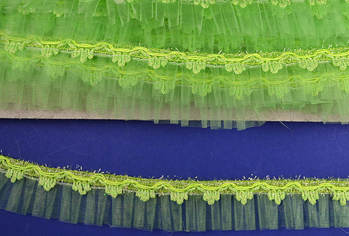 "1.5"" x 20 Yards Apple Green Organza Trim - 5 Packs Wholesale Organza Trim"
