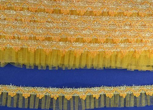 "1.5"" x 20 Yards Gold Yellow Organza Trim - 5 Packs Wholesale Organza Trim"