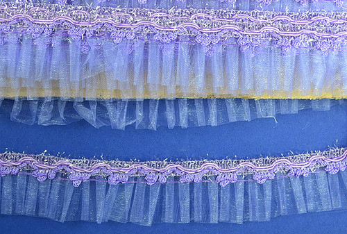 "1.5"" x 20 Yards Lavender Organza Trim - 5 Packs Wholesale Organza Trim"