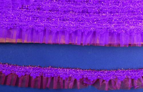 "1.5"" x 20 Yards Purple Organza Trim - 5 Packs Wholesale Organza Trim"