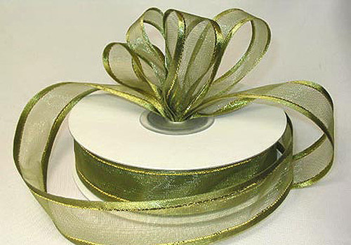 """3/8""""x25 yards Moss Green Organza Satin Edge with Gold/Silver Trim Gift Ribbon - Pack of 15 Rolls"""
