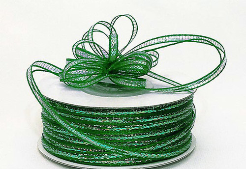 "1/4""x50 yards Emerald Organza Pull Bows Ribbon with Iridescent Edge - Pack of 6 Rolls"
