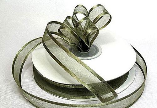 "3/8""x25 yards Moss Green Organza Satin Edge Gift Ribbon - Pack of 15 Rolls"