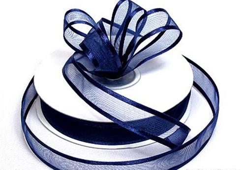 "3/8""x25 yards Navy Blue Organza Satin Edge Gift Ribbon - Pack of 15 Rolls"