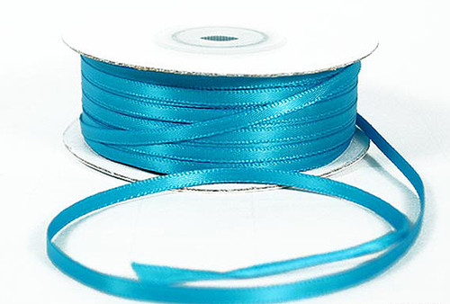 """1/16""""x100 yard Turquoise Polyester Satin Gift Ribbon - Pack of 15 Rolls"""
