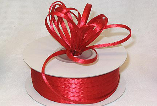 """1/16""""x100 yard Red Polyester Satin Gift Ribbon - Pack of 15 Rolls"""