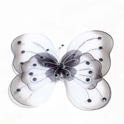 "8"" Black Large Wired Organza Butterfly - Pack of 10"