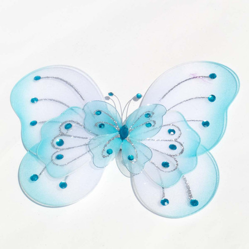 "8"" Light Blue Large Wired Organza Butterfly - Pack of 10"